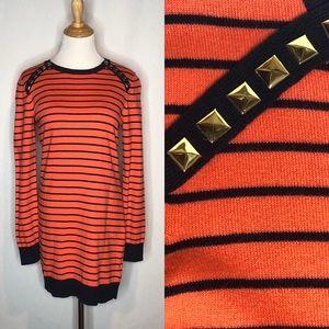 Michael Kors Orange/Navy Gold Stud Sweater Dress m